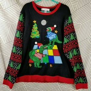 Ugly Christmas Sweater XXL Light Up Dinosaur party